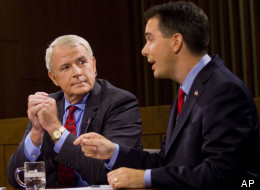 Milwaukee Mayor Tom Barrett (left) and Wisconsin Gov. Scott Walker are battling for a June 5 victory.