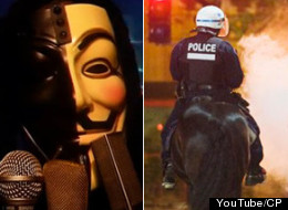 A video attributed to the hacker group Anonymous demands an end to police violence against student protesters in Quebec. (YouTube/CP)