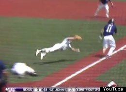 St. John's pitcher Joe Robie makes a diving, bare-handed catch to retire Ross batter Tyler Wolf.