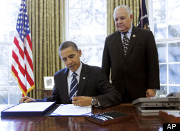 Rep. Silvestre Reyes (D-Texas) with President Obama.