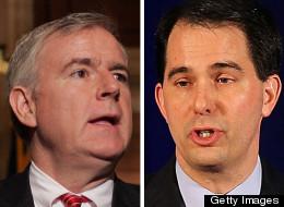 In Wisconsin's recall race, Tom Barrett (left) trails Scott Walker according to the latest poll.