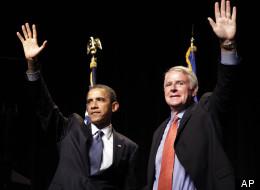 Milwaukee Mayor Tom Barrett (D) campaigning with President Obama in 2010, for Barrett's gubernatorial bid.