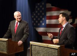 Milwaukee Mayor Tom Barrett (D) debating Wisconsin Gov. Scott Walker (R) on May 25, 2012.