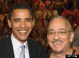 In this undated photo from Trinity United Church of Christ, Democratic presidential candidate Sen. Barack Obama, D-Ill., left, poses with the church's pastor, Rev. Jeremiah Wright in Chicago.