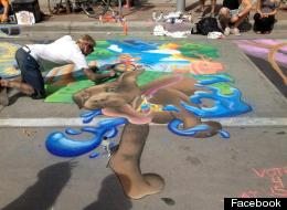Drew Kessinger works on his 2012 Best in Show winning piece in Larimer Square at the Denver Chalk Art Festival.