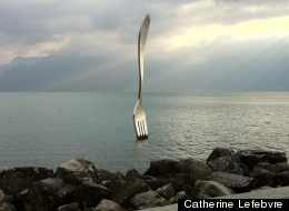 Fork stuck in the lake in front of Alimentairum.