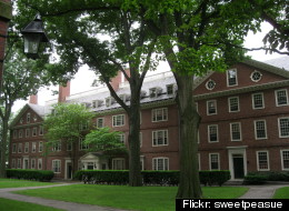 A photo of Harvard Yard. Three in four rich families think that kids should help pay for college, according to a recent survey.