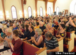 Audience in the pews at First Baptist Church in Manassas.