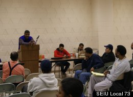 SEIU Local 73 members employed by CPS at a recent meeting.