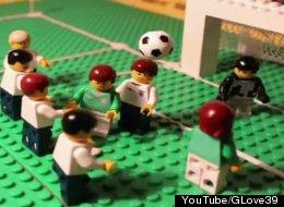 Ireland defeats Enlgand in a re-enacted 1988 Euro match made entirely of LEGOs.