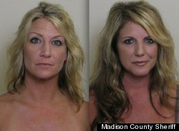 Alicia Binford (left) and Shelly Lewis were arrested after allegedly popping their tops on the golf course.