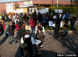 Protesters rally outside Chicago's Woodlawn Mental Health Center in April.