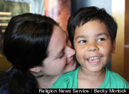 Becky Morlock with her son Kyle, who she adopted from India. He was just two days old when his birth mother surrendered him as she was discharged from a hospital in the foothills of the Himalayas.