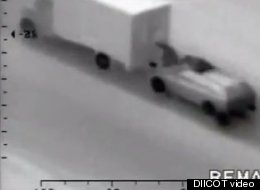 Romanian thieves began to rob a moving truck while on the highway, but then decided against it.