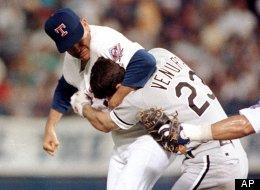 Texas Rangers pitcher Nolan Ryan hits Robin Ventura of the Chicago White Sox after Ventura charged the mound, Aug. 4, 1993 in Arlington, Texas. (AP Photo/Linda Kaye)