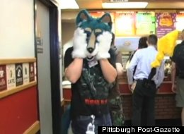 An Anthrocon attendee at Fernando's Cafe