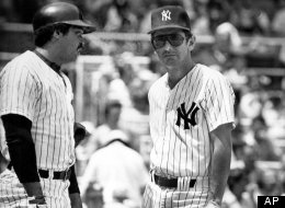 New York Yankees manager Billy Martin, right, and Yankees slugger Reggie Jackson are shown during warm-up before a game with the Kansas City Royals, New York, July 24, 1977.