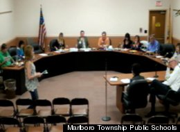 Valerie Kaufman, walking at left, told the Marlboro Township Board of Education during a June 12 meeting that she found the pledge to be unconstitutional and suggested administrators end the practice.