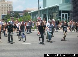 For Wild in the Streets, Detroit Skaters took to the streets streets in droves for a mass ride, part of Go Skateboarding Day, to help build a local skatepark, on Thursday, June 21, 2012. (HuffPost/David Sands)