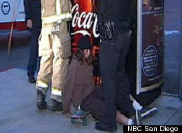 Firefighters in National City, Calif., attempt to free a 17-year-old teen who got his arm stuck in a vending machine while trying to steal a soda.