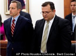 Raul Rodriguez, right, stands with his attorney Bill Stradley as he is found guilty of killing Kelly Danaher Wednesday, June 13, 2012, in Houston. A jury convicted Rodriguez of murdering his neighbor during a confrontation outside the neighbor's home two years ago, rejecting his claim that he was within his rights to fatally shoot the man under Texas' version of a stand-your-ground law.