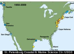 Increases in rates of sea-level rise from Boston to North Carolina indicate risk for northeast U.S. coastal cities.