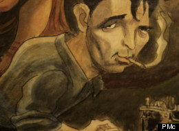The mural. In this section it features a drawing of Jack Kerouac.
