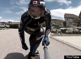 Vernon B.C.'s Mischo Erban has set a Guiness World Record for going nearly 130 km/h (80 mph) on his longboard. (YouTube)