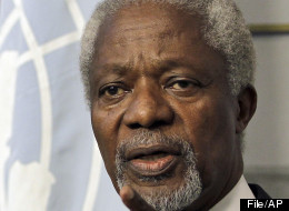 Kofi Annan, the U.N.-Arab League Joint Special Envoy for Syria, speaks during a press conference after his meeting with Lebanese Prime Minister Najib Mikati, unseen, at the governmental palace in Beirut, Lebanon, Friday, June 1, 2012.  (File, AP Photo/Hussein Malla)
