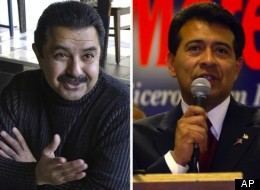 Left: Former Alderman Ambrosio Medrano, who served 21 months in prison for taking bribes, answers a question from a voter at the Jumping Bean coffee house Wednesday, Jan. 22, 2003 in Chicago. (AP Photo/M. Spencer Green) Right: Joseph Mario Moreno speaks on Tuesday, April 1, 2003, in Cicero, Ill. (AP Photo/Steve Matteo)
