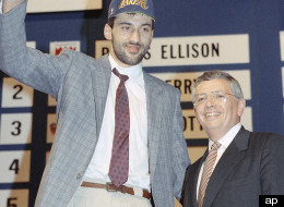 Vlade Divac gives a thumbs up as the Los Angeles Lakers pick in the NBA Draft in New York, June 28, 1989.