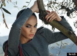 Model Joan Smalls poses for Fendi's Fall 2012 campaign ad.