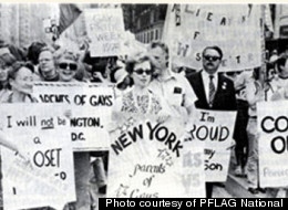 PFLAG members attend the 1974 Gay Pride Parade in New York.