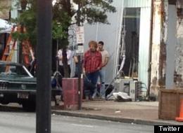 Alan Rickman as Hilly Kristal on set of