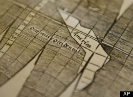 A 500-year old world map by cartographer Martin Waldseemueller of Freiburg Mueller (1470-1522) is on display at the University Library in Munich on Tuesday, July 3, 2012. (Lukas Barth/DAPD)
