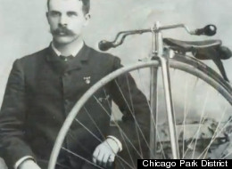 Check out the 'stach on this early adapting, bicycling Chicagoan circa the late 19th Century.