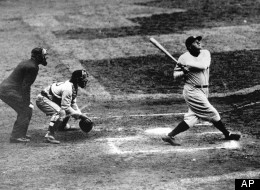 Babe Ruth of the New York Yankees clouts a towering home run in this undated photo. (AP Photo)