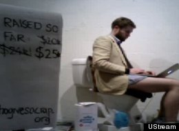 Simon Griffiths is sitting on the toilet until his toilet paper company, Who Gives A Crap, raises $50,000.