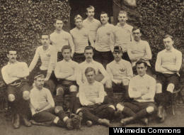 The 1889 Oxford University Rugby union Varsity Match team (image via Wikimedia Commons).