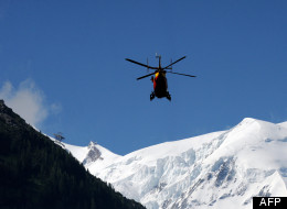 An injured skier was airlifted to safety after being caught in an avalanche not far from Mount Washington. Pictured here is a safety aircraft attending to an avalanche on Mont Maudit in France. (AFP)