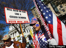 Tea Party members protest in Waterbury, Conn., ahead of the 2010 midterm elections.