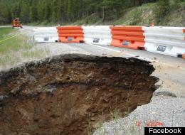 The growing 'sinkhole' that opened up along US-24. (Photo via CDOT Facebook)