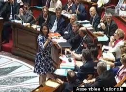 La ministre de l'Egalité des territoires, Cécile Duflot, le 17 juillet 2012 au micro de l'Assemblée nationale
