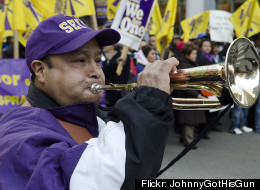 SEIU Local 1 janitors marched in downtown Chicago in February.