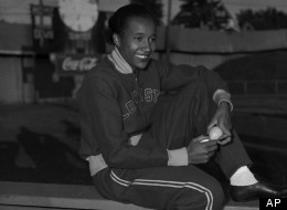 Alice Coachman of Albany, Ga., winner of high jump event in Grand Rapids, Iowa, July 6, 1948. (AP Photo)