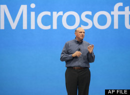 In this Monday, June 18, 2012, file photo, Microsoft CEO Steve Ballmer unveils its