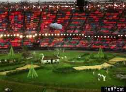 The stage for the London 2012 Opening Ceremonies.