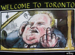 A T-shirt of Toronto Mayor Rob Ford has sold for $7,100 (U.S.) on eBay. The shirt was signed by Canadian author Margaret Atwood. (eBay)