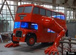 Czech artist David Cerny has created a double-decker bus that does push-ups.