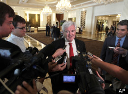 Newt Gingrich speaks to reporters as he arrives for a fundraiser for presumptive Republican presidential candidate Mitt Romney May 29 in Las Vegas. (AP Photo/Mary Altaffer)